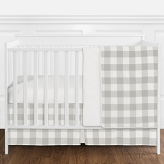 Gray and White Rustic Woodland Flannel Grey Buffalo Plaid Check Baby Unisex Boy or Girl Nursery Crib Bedding Set without Bumper by Sweet Jojo Designs - 4 pieces - Country Lumberjack