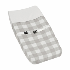 Gray and White Rustic Woodland Flannel Unisex Boy or Girl Baby Changing Pad Cover for Grey Buffalo Plaid Check Collection by Sweet Jojo Designs - Country Lumberjack