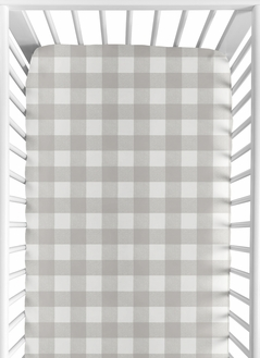 Gray and White Rustic Woodland Flannel Unisex Boy or Girl Baby or Toddler Fitted Crib Sheet for Grey Buffalo Plaid Check Collection by Sweet Jojo Designs - Country Lumberjack