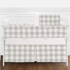 Gray and White Rustic Woodland Flannel Unisex Boy or Girl Nursery Crib Bedding Set with Bumper by Sweet Jojo Designs - 9 pieces for Grey Buffalo Plaid Check Collection by Sweet Jojo Designs - Country Lumberjack