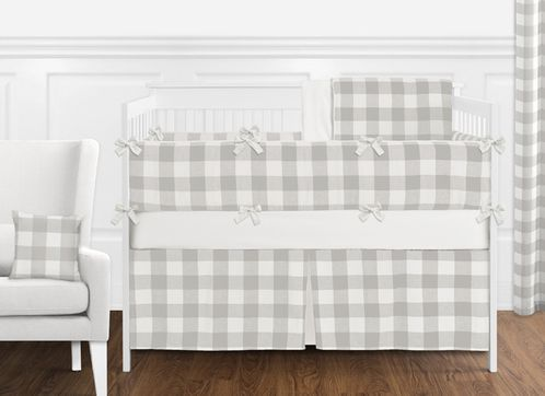 Gray and White Rustic Woodland Flannel Unisex Boy or Girl Nursery Crib Bedding Set with Bumper by Sweet Jojo Designs - 9 pieces for Grey Buffalo Plaid Check Collection by Sweet Jojo Designs - Country Lumberjack - Click to enlarge