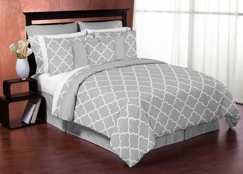 Gray and White Trellis 3pc Bed in a Bag King Bedding Set by Sweet Jojo Designs - Click to enlarge