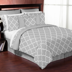 Gray and White Trellis 3pc Full / Queen Bedding Set by Sweet Jojo Designs