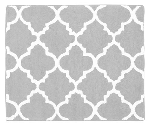 Gray and White Trellis Accent Floor Rug by Sweet Jojo Designs - Click to enlarge