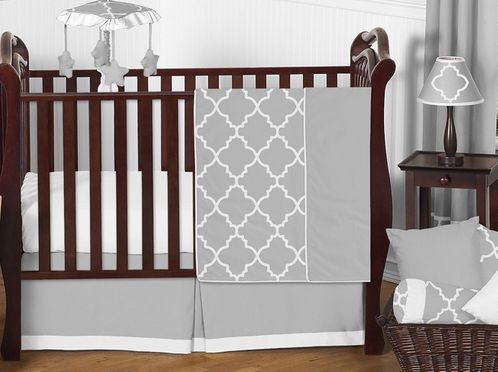 Gray and White Trellis Baby Bedding - 11pc Crib Set by Sweet Jojo Designs - Click to enlarge