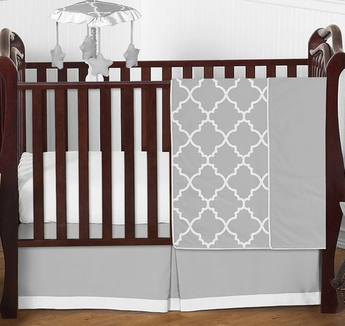Gray and White Trellis Baby Bedding - 4pc Crib Set by Sweet Jojo Designs - Click to enlarge