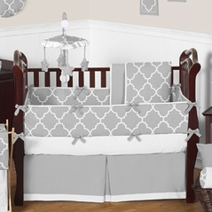 Gray and White Trellis Baby Bedding - 9pc Crib Set by Sweet Jojo Designs