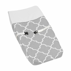 Gray and White Trellis Baby Changing Pad Cover by Sweet Jojo Designs