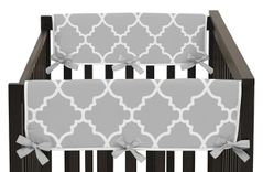 Gray and White Trellis Baby Crib Side Rail Guard Covers by Sweet Jojo Designs - Set of 2