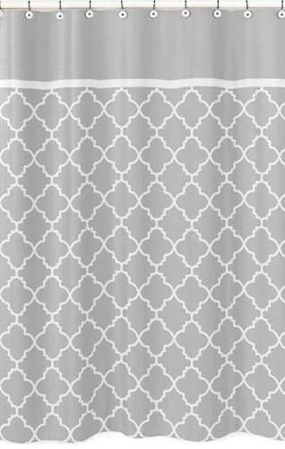 Gray and White Trellis Childrens Bathroom Fabric Bath Shower Curtain by Sweet Jojo Designs - Click to enlarge
