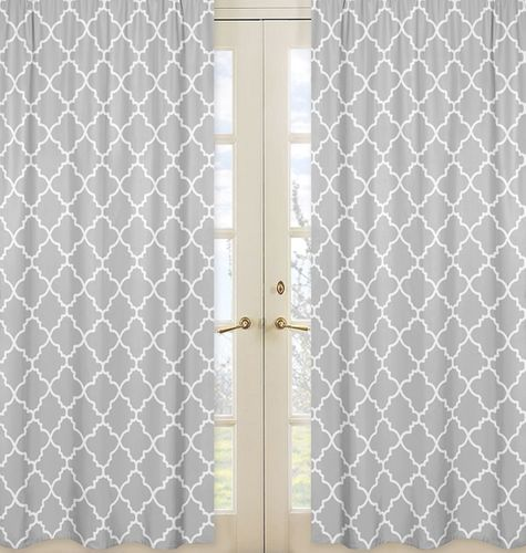 Gray and White Trellis Collection Lattice Window Treatment Panels - Set of 2 - Click to enlarge