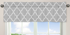 Gray and White Trellis Collection Window Valance by Sweet Jojo Designs