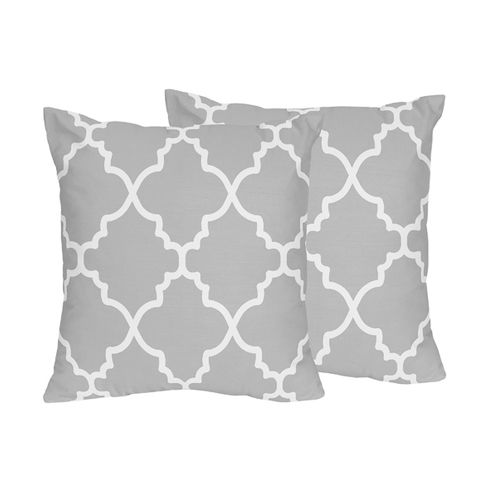 Gray and White Trellis Decorative Accent Throw Pillows - Set of 2 - Click to enlarge