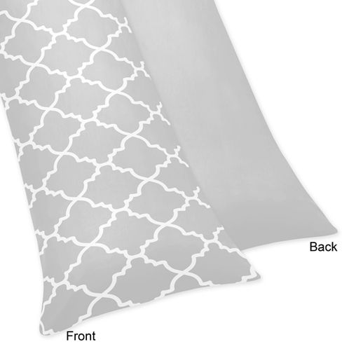 Gray and White Trellis Full Length Double Zippered Body Pillow Case Cover - Click to enlarge
