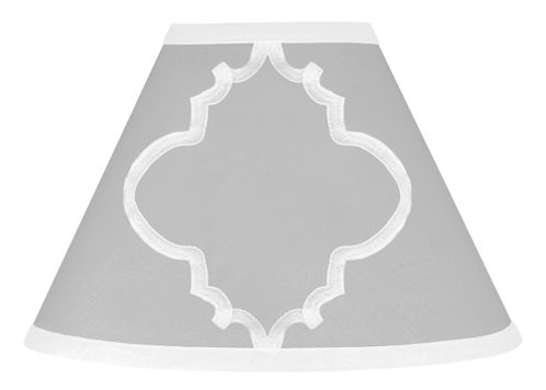 Gray and White Trellis Lamp Shade by Sweet Jojo Designs - Click to enlarge