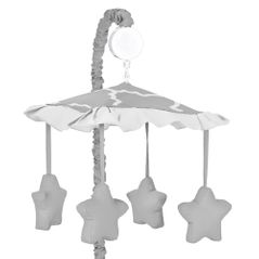 Gray and White Trellis Musical Baby Crib Mobile by Sweet Jojo Designs