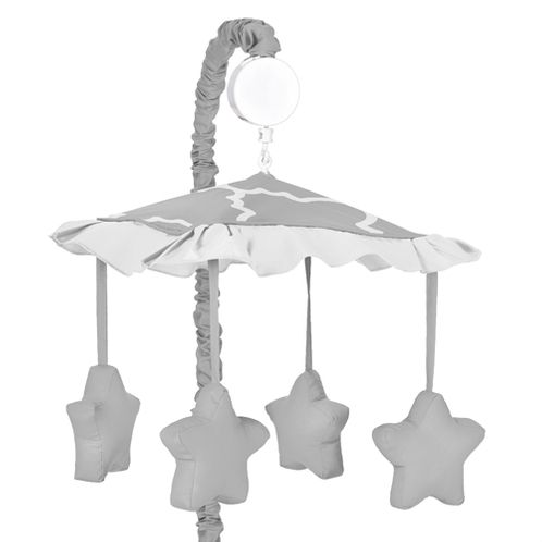 Gray and White Trellis Musical Baby Crib Mobile by Sweet Jojo Designs - Click to enlarge