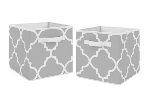 Gray and White Trellis Organizer Storage Bins for Collection by Sweet Jojo Designs - Set of 2 - Click to enlarge
