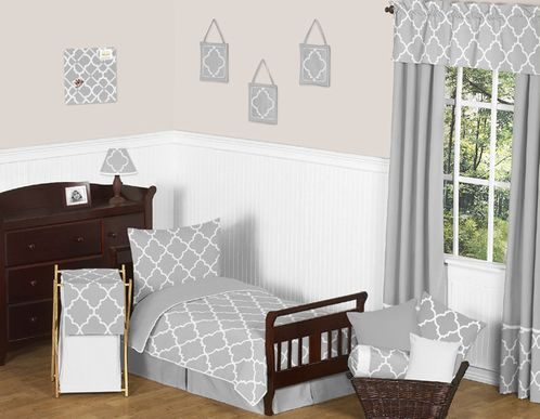 Gray and White Trellis Toddler Bedding - 5pc Set by Sweet Jojo Designs - Click to enlarge