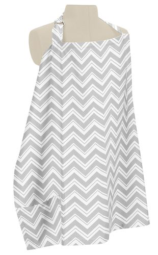 Gray and White Zig Zag Chevron Infant Baby Breastfeeding Nursing Cover Up Apron by Sweet Jojo Designs - Click to enlarge