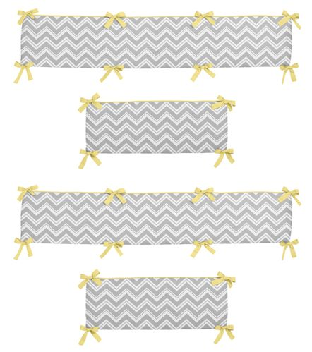 Gray and Yellow Zig Zag Collection Crib Bumper by Sweet Jojo Designs - Click to enlarge