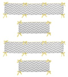 Gray and Yellow Zig Zag Collection Crib Bumper by Sweet Jojo Designs