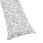 Gray Damask Full Length Double Zippered Body Pillow Case Cover for Sweet Jojo Designs Skylar Sets