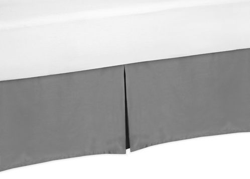 Gray Queen Bed Skirt for Gray and Orange Stripe Bedding Sets - Click to enlarge