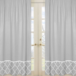 Gray Window Treatment Panels for Gray and White Trellis Collection - Set of 2