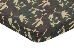 Green and Beige Camouflage Baby Fitted Mini Portable Crib Sheet for Woodland Camo Collection by Sweet Jojo Designs