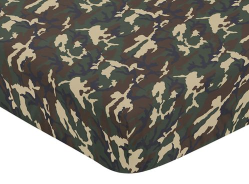Green and Beige Camouflage Baby or Toddler Fitted Crib Sheet for Woodland Camo Collection by Sweet Jojo Designs - Click to enlarge