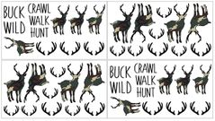 Green and Beige Camouflage Rustic Deer Peel and Stick Wall Decal Stickers Art Nursery Decor for Woodland Camo Collection by Sweet Jojo Designs - Set of 4 Sheets