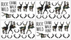 Green and Beige Camouflage Rustic Deer Wall Decal Stickers for Woodland Camo Collection by Sweet Jojo Designs - Set of 4 Sheets