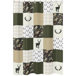 Green and Beige Deer Buffalo Plaid Check Bathroom Fabric Bath Shower Curtain for Woodland Camo Collection by Sweet Jojo Designs - Rustic Camouflage