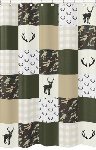 Green and Beige Deer Buffalo Plaid Check Bathroom Fabric Bath Shower Curtain for Woodland Camo Collection by Sweet Jojo Designs - Rustic Camouflage - Click to enlarge