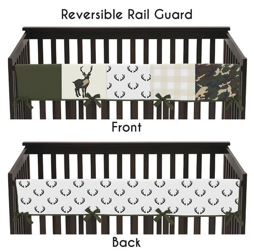 Green and Beige Deer Buffalo Plaid Check Long Front Crib Rail Guard Baby Teething Cover Protector Wrap for Woodland Camo Collection by Sweet Jojo Designs - Rustic Camouflage - Click to enlarge