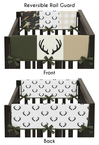 Green and Beige Deer Buffalo Plaid Check Side Crib Rail Guards Baby Teething Cover Protector Wrap for Woodland Camo Collection by Sweet Jojo Designs - Set of 2 - Rustic Camouflage - Click to enlarge