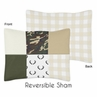 Green and Beige Deer Buffalo Plaid Check Standard Pillow Sham for Woodland Camo Collection by Sweet Jojo Designs - Rustic Camouflage