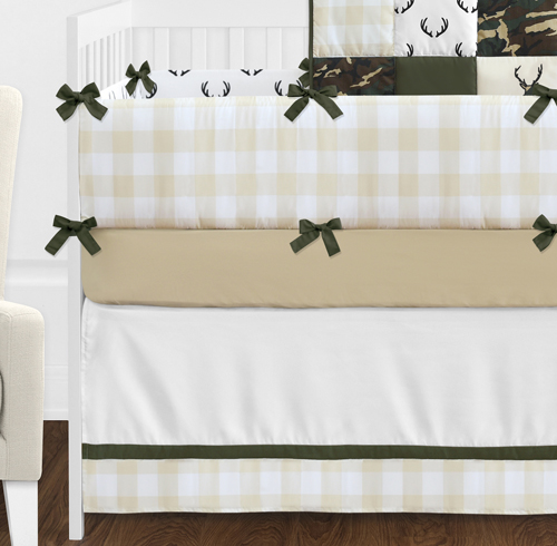 Green And Beige Deer Buffalo Plaid Check Woodland Camo Baby Boy Crib  Bedding Set With Bumper By Sweet Jojo Designs   9 Pieces   Rustic  Camouflage Only ...