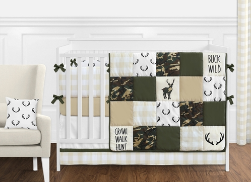 Green and Beige Deer Buffalo Plaid Check Woodland Camo Baby Boy Crib Bedding Set with Bumper by Sweet Jojo Designs - 9 pieces - Rustic Camouflage - Click to enlarge