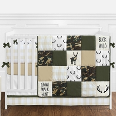 Green and Beige Deer Buffalo Plaid Check Woodland Camo Baby Boy Crib Bedding Set with Bumper by Sweet Jojo Designs - 9 pieces - Rustic Camouflage