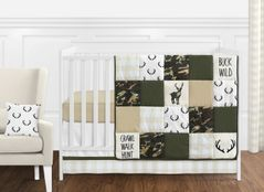 Green and Beige Deer Buffalo Plaid Check Woodland Camo Baby Boy Crib Bedding Set without Bumper by Sweet Jojo Designs - 11 pieces - Rustic Camouflage