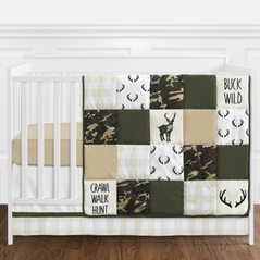 Green And Beige Deer Buffalo Plaid Check Woodland Camo Baby Boy Crib  Bedding Set Without Bumper