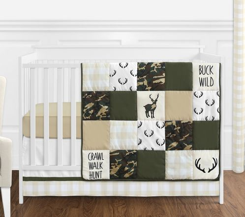 Green and Beige Deer Buffalo Plaid Check Woodland Camo Baby Boy Crib Bedding Set without Bumper by Sweet Jojo Designs - 4 pieces - Rustic Camouflage - Click to enlarge