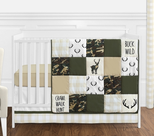 Green And Beige Deer Buffalo Plaid Check Woodland Camo Baby Boy Crib Bedding Set Without Per