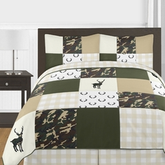 Green and Beige Deer Buffalo Plaid Check Woodland Camo Boy Full / Queen Teen Childrens Bedding Comforter Set by Sweet Jojo Designs - 3 pieces - Rustic Camouflage