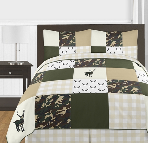 Green and Beige Deer Buffalo Plaid Check Woodland Camo Boy Full / Queen Teen Childrens Bedding Comforter Set by Sweet Jojo Designs - 3 pieces - Rustic Camouflage - Click to enlarge