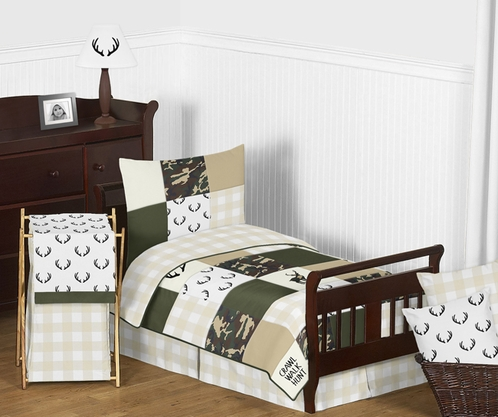 Green and Beige Deer Buffalo Plaid Check Woodland Camo Boy Toddler Kid Childrens Bedding Set by Sweet Jojo Designs - 5 pieces Comforter, Sham and Sheets - Rustic Camouflage - Click to enlarge