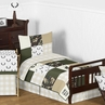 Green and Beige Deer Buffalo Plaid Check Woodland Camo Boy Toddler Kid Childrens Bedding Set by Sweet Jojo Designs - 5 pieces Comforter, Sham and Sheets - Rustic Camouflage