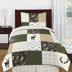 Green and Beige Deer Buffalo Plaid Check Woodland Camo Boy Twin Kid Childrens Bedding Comforter Set by Sweet Jojo Designs - 4 pieces - Rustic Camouflage
